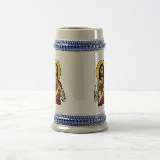 Corazón sagrado jarra de cerveza