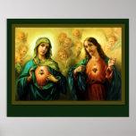 Corazón sagrado Jesús y corazón inmaculado de Poster