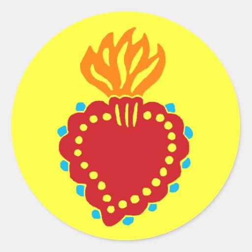 Corazón sagrado mexicano del arte popular pegatina redonda