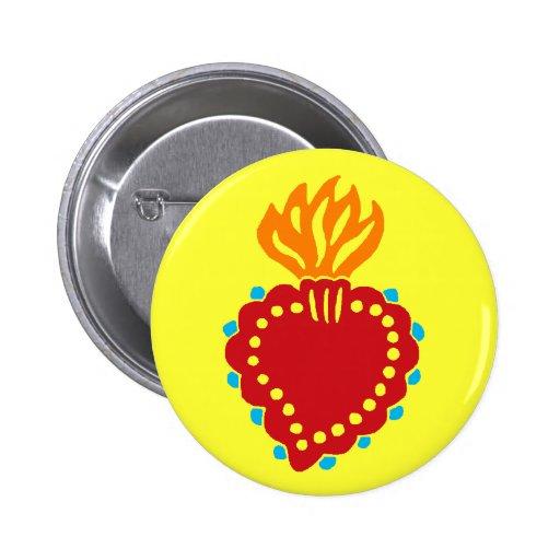 Corazón sagrado mexicano del arte popular pin redondo 5 cm