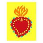Corazón sagrado mexicano del arte popular postales