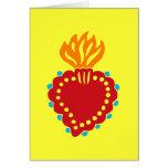 Corazón sagrado mexicano del arte popular tarjeta
