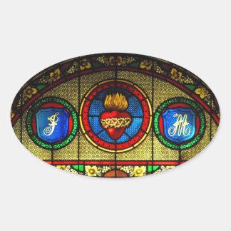 Corazón sagrado pegatina del vitral de J M