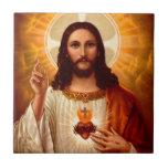Corazón sagrado religioso hermoso de la imagen de  tejas  ceramicas