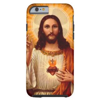 Corazón sagrado religioso hermoso de la imagen de funda de iPhone 6 tough