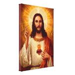 Corazón sagrado religioso hermoso de la imagen de  lona envuelta para galerias