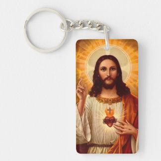 Corazón sagrado religioso hermoso de la imagen de  llavero rectangular acrílico a una cara