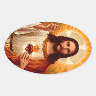Corazón sagrado religioso hermoso de la imagen de pegatina ovalada