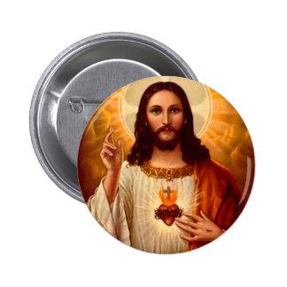 Corazón sagrado religioso hermoso de la imagen de  pin redondo de 2 pulgadas