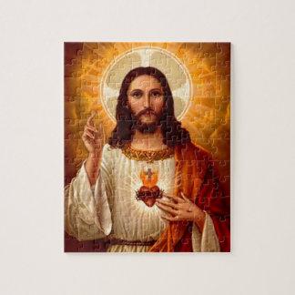 Corazón sagrado religioso hermoso de la imagen de  rompecabezas con fotos