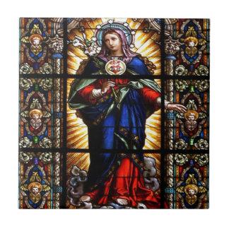 Corazón sagrado religioso hermoso del Virgen María Azulejo Cuadrado Pequeño