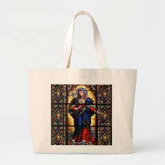 Corazón sagrado religioso hermoso del Virgen María Bolsa De Tela Grande