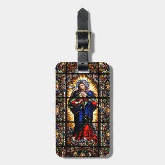 Corazón sagrado religioso hermoso del Virgen María Etiqueta Para Equipaje