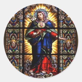 Corazón sagrado religioso hermoso del Virgen María Pegatina Redonda