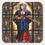 Corazón sagrado religioso hermoso del Virgen María Calcomanía Cuadradas Personalizada