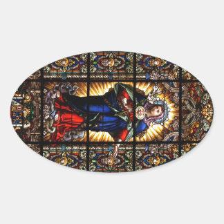 Corazón sagrado religioso hermoso del Virgen María Pegatina Ovalada