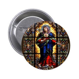 Corazón sagrado religioso hermoso del Virgen María Pin Redondo De 2 Pulgadas