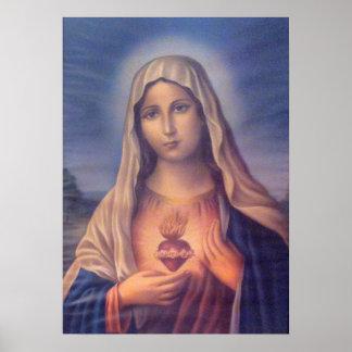 Corazón sagrado religioso hermoso del Virgen María Póster