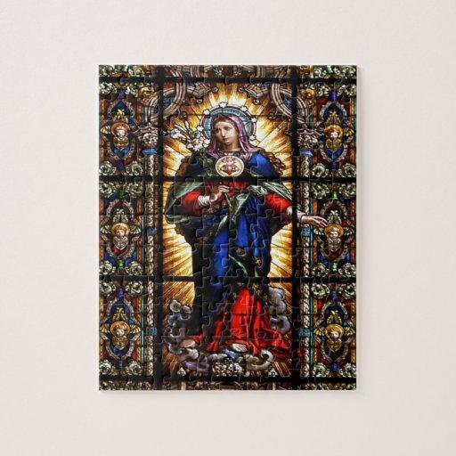 Corazón sagrado religioso hermoso del Virgen María Puzzles