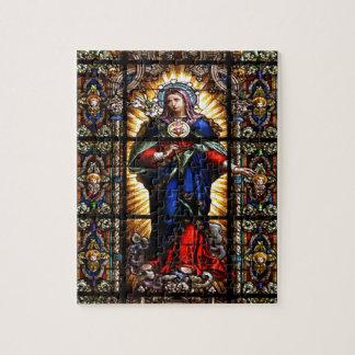 Corazón sagrado religioso hermoso del Virgen María Puzzles Con Fotos