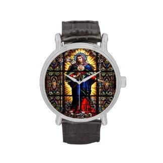 Corazón sagrado religioso hermoso del Virgen María Relojes De Mano