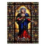 Corazón sagrado religioso hermoso del Virgen María Tarjeta Postal