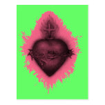 Corazón sagrado rosado postal