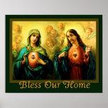 Corazón sagrado y bendición inmaculada del hogar póster