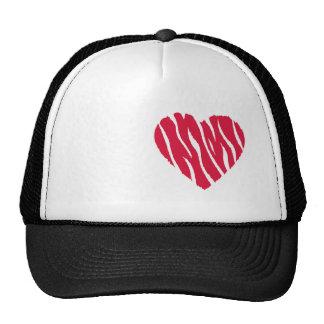 Corazón salvaje del rojo carmesí gorras