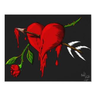 Corazón sangrante invitación 10,8 x 13,9 cm