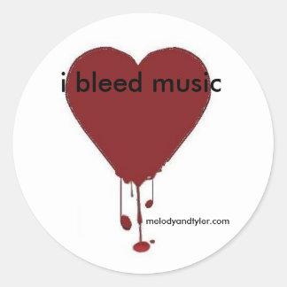 Corazón sangrante, sangro la música, pegatina redonda
