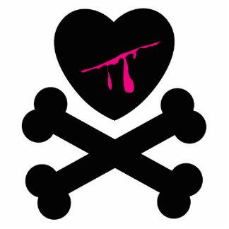 Corazón sangrante y bandera pirata esculturas fotográficas
