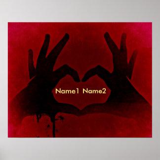 Corazón sangriento de las manos póster
