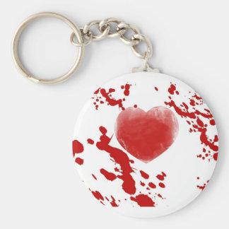 Corazón sangriento llavero redondo tipo pin