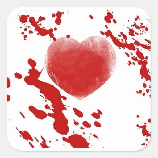 Corazón sangriento calcomanía cuadradas personalizada
