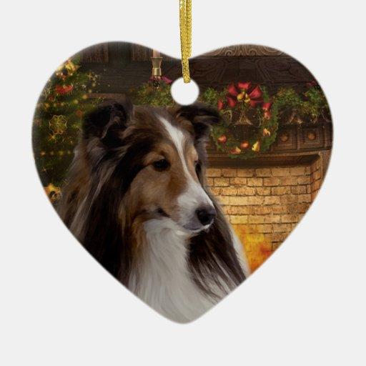 Corazón Sheltie del día de fiesta Adorno De Navidad