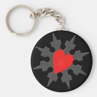 Corazón Shuriken de Ninja del Cupid Llavero Redondo Tipo Pin