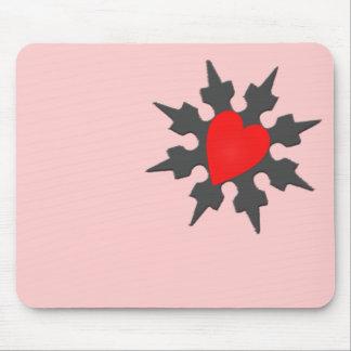 Corazón Shuriken de Ninja del Cupid Mousepads