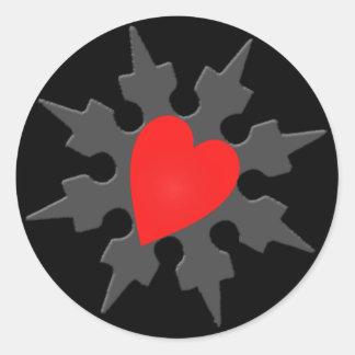 Corazón Shuriken de Ninja del Cupid Pegatina Redonda