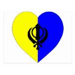 Corazón sikh de la bandera postal