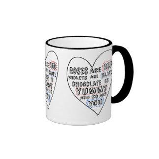 Corazón simple del amor de la diversión tazas de café