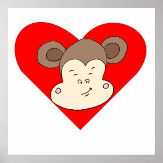 Corazón Smirking de la cara del mono Impresiones