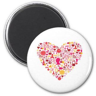 Corazón social de la red imán redondo 5 cm