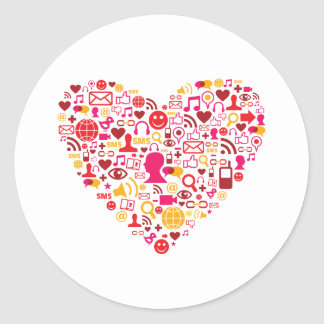 Corazón social de la red pegatinas redondas
