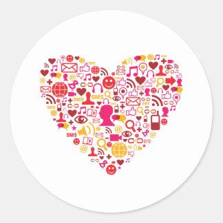 Corazón social de la red pegatina redonda