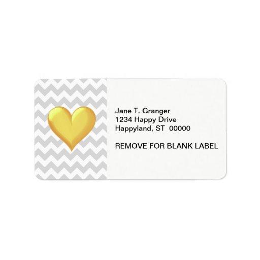 Corazón sombreado amarillo de oro de Chevron del L Etiquetas De Dirección