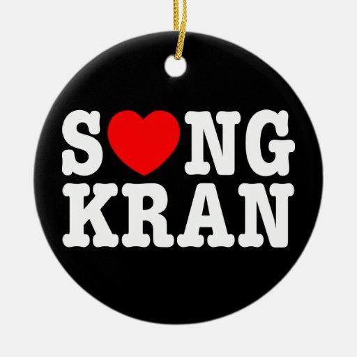 Corazón Songkran del ~ de S❤NGKRAN Adorno Navideño Redondo De Cerámica