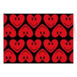 Corazón sonriente rojo adaptable tarjetas