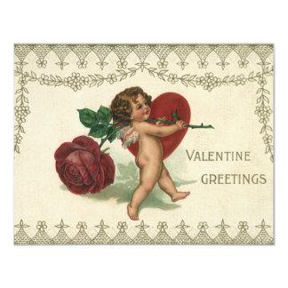 Corazón subió Cupid del ángel del Victorian de la Invitaciones Personalizada