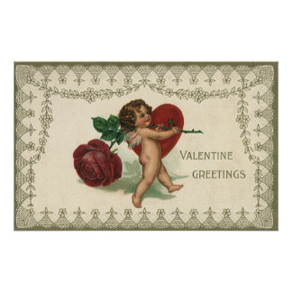 Corazón subió Cupid del ángel del Victorian de la Impresiones